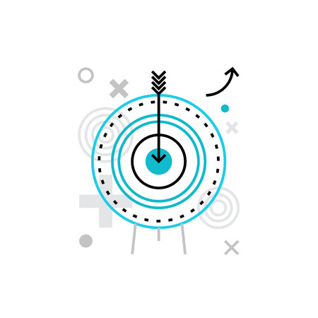 Modern vector icon of business goals, company mission and social aim targeting. Premium quality vector illustration concept. Flat line icon symbol. Flat design image isolated on white background.