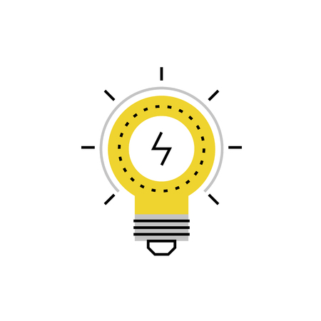 Modern vector icon of electrical lightbulb and ideas of business solutions. Premium quality vector illustration concept. Flat line icon symbol. Flat design image isolated on white background. Illustration