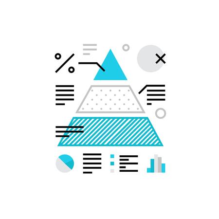 Icône vectorielle moderne d'analyse d'informations, d'infograpies de données et de diagrammes de flux. Concept d'illustration vectorielle de qualité supérieure. Symbole d'icône de ligne plate. Image de conception plate isolée sur fond blanc. Vecteurs