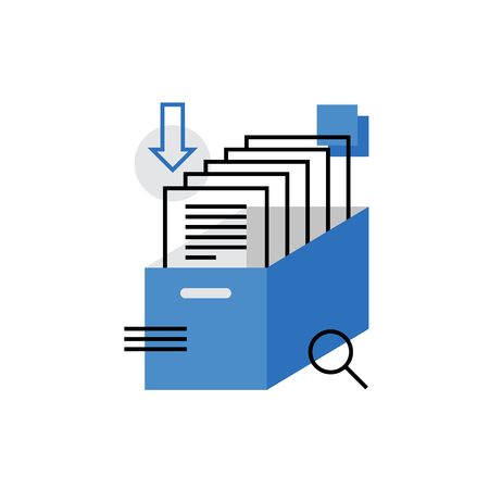 pile of documents: Modern vector icon of business documents, archive papers drawer, catalog search. Premium quality vector illustration concept. Flat line icon symbol. Flat design image isolated on white background.