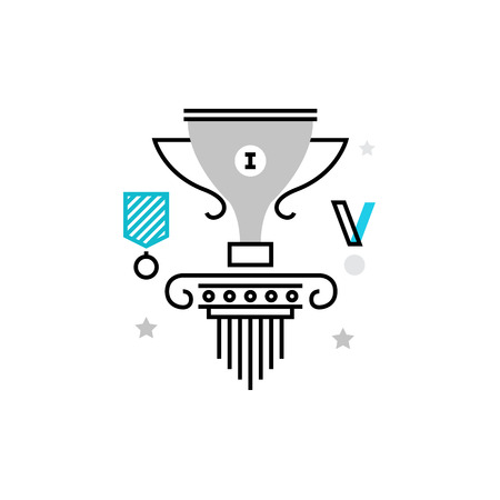 tribune: Modern vector icon of first place winner, gold award trophy and champions cup. Premium quality vector illustration concept. Flat line icon symbol. Flat design image isolated on white background. Illustration