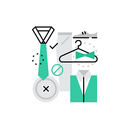 proffesional: Modern vector icon of proffesional dress code and official wardrobe apparel. Premium quality vector illustration concept. Flat line icon symbol. Flat design image isolated on white background. Illustration