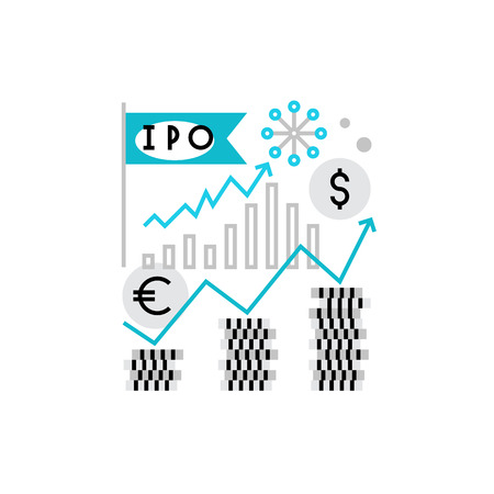initial public offerings: Modern vector icon of stock market figures, investment elements and company IPO. Premium quality vector illustration concept. Flat line icon symbol. Flat design image isolated on white background. Illustration