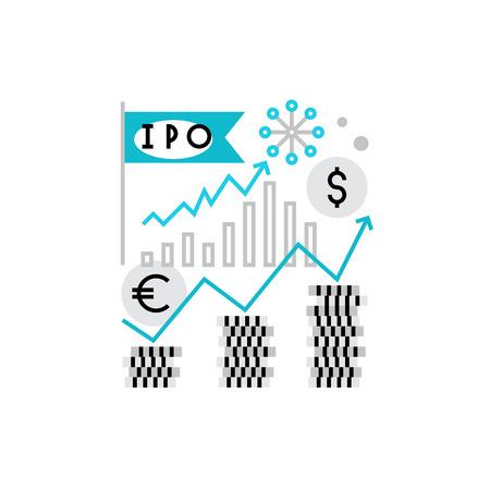 Moderne icône vecteur des chiffres du marché boursier, les éléments d'investissement et société IPO. Qualité premium illustration vectorielle concept. Flat ligne symbole de l'icône. Flat image de conception isolé sur fond blanc. Vecteurs