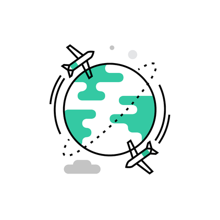 Modern vector icon of airplane flight, travelling around the world, vacation trip . Premium quality vector illustration concept. Flat line icon symbol. Flat design image isolated on white background.