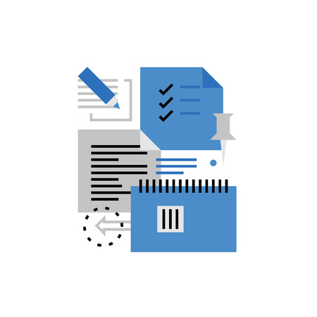 modern office: Modern vector icon of sticky notes writing, making todo list, notebook markers. Premium quality vector illustration concept. Flat line icon symbol. Flat design image isolated on white background. Illustration