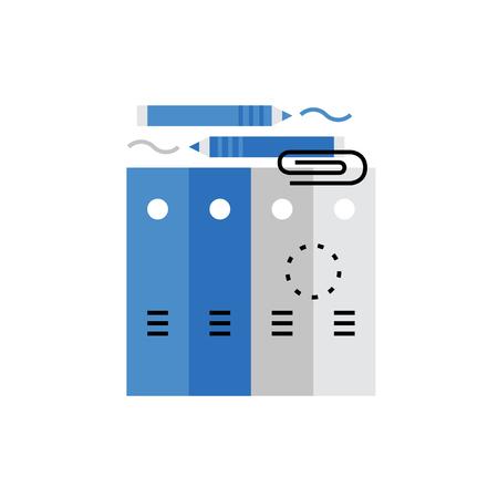Moderna Icona vettore di documenti aziendali, carta cartella, file di Office, strumenti di cancelleria. Premium qualità concetto illustrazione vettoriale. Flat Line simbolo icona. immagine design piatto isolato su sfondo bianco. Vettoriali