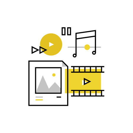 contents: Modern vector icon of multimedia files, media content and web player elements. Premium quality vector illustration concept. Flat line icon symbol. Flat design image isolated on white background.