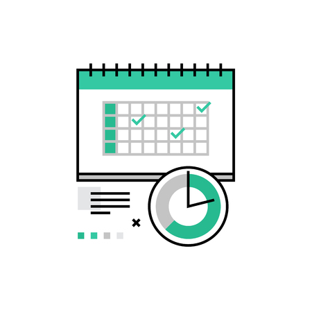Modern vector icon of shedule organization, time planning and management. Premium quality vector illustration concept. Flat line icon symbol. Flat design image isolated on white background.