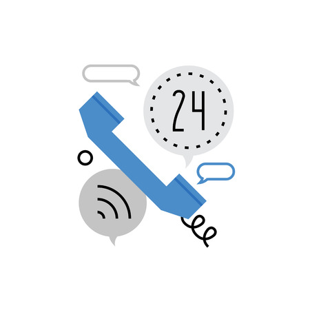 telecom: Modern vector icon of telephone calling, telecom connection, call center service. Premium quality vector illustration concept. Flat line icon symbol. Flat design image isolated on white background.