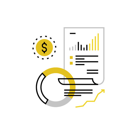 Modern vector icon of finance document, budget planning and money accounting. Premium quality vector illustration concept. Flat line icon symbol. Flat design image isolated on white background.