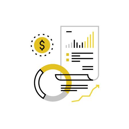 Moderne vector icoon van financiën document, budget planning en geld boekhouding. Premium kwaliteit vector illustratie concept. Vlakke lijn pictogram symbool. image platte ontwerp op een witte achtergrond. Stock Illustratie