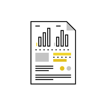 datasheet: Modern vector icon of data sheet, document file paper with graphs and charts. Premium quality vector illustration concept. Flat line icon symbol. Flat design image isolated on white background.