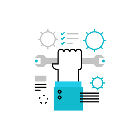 config: Modern vector icon of production process, fixing tools and handle repair instruments. Premium quality vector illustration concept. Flat line icon symbol. Flat design image isolated on white background