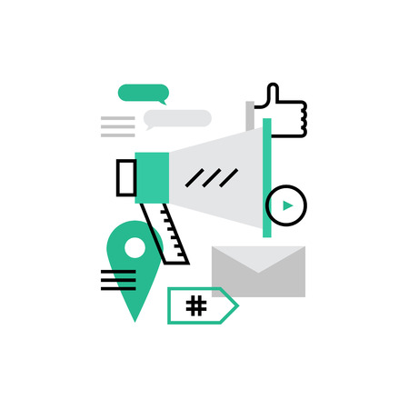 follower: Modern vector icon of social media marketing promotion and seo optimization tools . Premium quality vector illustration concept. Flat line icon symbol. Flat design image isolated on white background.