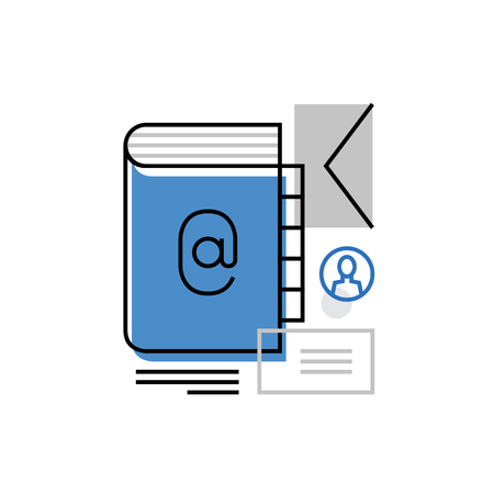 email lists: Modern vector icon of people contact list, address book, message sending. Premium quality vector illustration concept. Flat line icon symbol. Flat design image isolated on white background.
