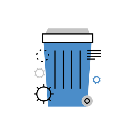 Modern vector icon of office dustbin, trash basket, waste products and recycling. Premium quality vector illustration concept. Flat line icon symbol. Flat design image isolated on white background.