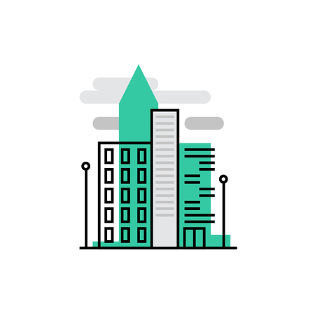Modern vector icon of office buildings  and downtown urban architecture . Premium quality vector illustration concept. Flat line icon symbol. Flat design image isolated on white background. Illustration