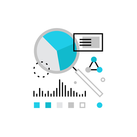estimation: Modern vector icon of financial data development, wealth monitoring and audit. Premium quality vector illustration concept. Flat line icon symbol. Flat design image isolated on white background.