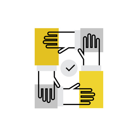 communication: Modern vector icon of team building process, hands cooperation and work together. Premium quality vector illustration concept. Flat line icon symbol. Flat design image isolated on white background.