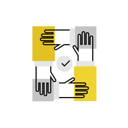 Moderne vector icoon van team bouwproces, handen samenwerking en samen te werken. Premium kwaliteit vector illustratie concept. Vlakke lijn pictogram symbool. image platte ontwerp op een witte achtergrond.