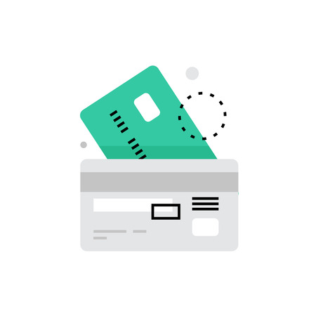 paying: Modern vector icon of credit cards image with details and validation information. Premium quality vector illustration concept. Flat line icon symbol. Flat design image isolated on white background. Illustration