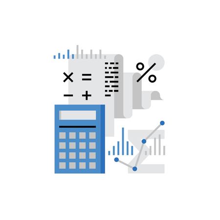 balance sheet: Modern vector icon of financial analysis, accounting data and company audit. Premium quality vector illustration concept. Flat line icon symbol. Flat design image isolated on white background. Illustration