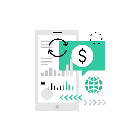 transfers: Modern vector icon of mibile banking technology, money transfers with smartphone. Premium quality vector illustration concept. Flat line icon symbol. Flat design image isolated on white background. Illustration