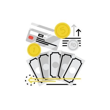 Moderne vector icoon van de financiële overlopende, werknemer paym? Nten en geldstroom. Premium kwaliteit vector illustratie concept. Vlakke lijn pictogram symbool. image platte ontwerp op een witte achtergrond. Stock Illustratie