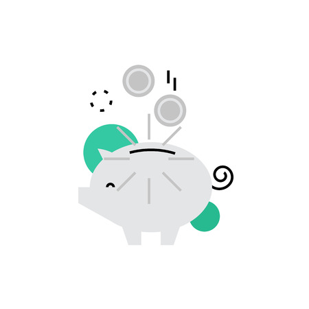 Modern vector icon of piggy bank with coins, money box and  wealth accumulation. Premium quality vector illustration concept. Flat line icon symbol. Flat design image isolated on white background.