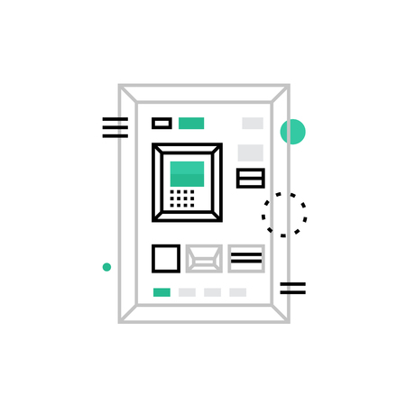 bankomat: Modern vector icon of atm machine image and cash dispenser interface with keypad. Premium quality vector illustration concept. Flat line icon symbol. Flat design image isolated on white background.