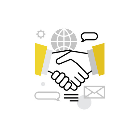 communication: Modern vector icon of business people cooperation, working colaboration, handshake. Premium quality vector illustration concept. Flat line icon symbol. Flat design image isolated on white background. Illustration