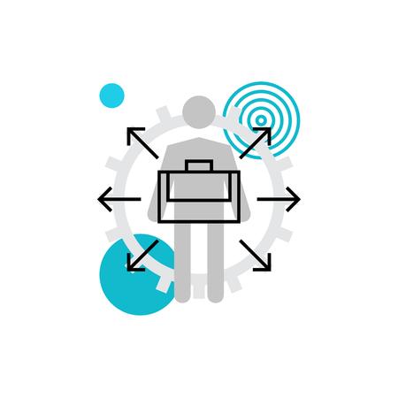 Modern vector icon of career ways, professional progress, job promotion capabilities. Premium quality vector illustration concept. Flat line icon symbol. Flat design image isolated on white background. Illustration