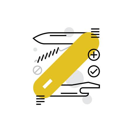 temperino: Moderno vettore icona di strumento multi tool, coltellino con cavatappi e apriscatole. Premium qualità concetto illustrazione vettoriale. Flat Line simbolo icona. immagine design piatto isolato su sfondo bianco.