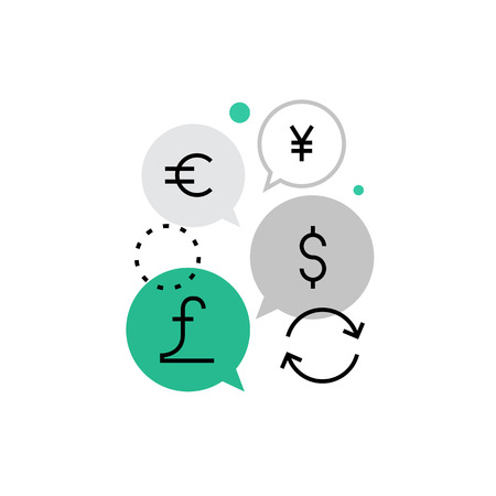 converter: Modern vector icon of currency exchange function, money converting and circulation. Premium quality vector illustration concept. Flat line icon symbol. Flat design image isolated on white background.