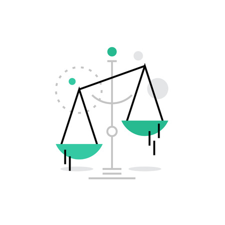Modern vector icon of law scales balance, financial legislation and juridical system. Premium quality vector illustration concept. Flat line icon symbol. Flat design image isolated on white background.