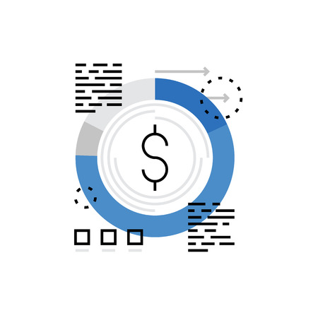 budgeting: Modern vector icon of financial strategy, budgeting and finance prediction. Premium quality vector illustration concept. Flat line icon symbol. Flat design image isolated on white background.