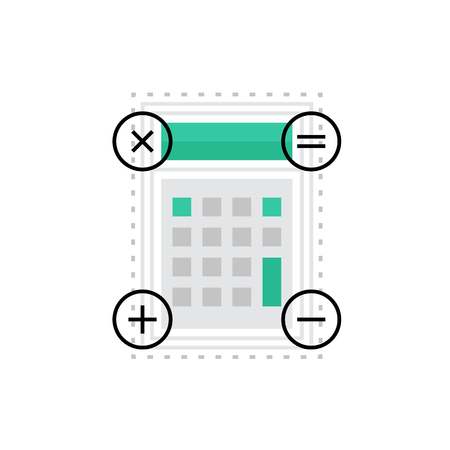icon buttons: Modern vector icon of calculator inteface image, keypad buttons and acountant tools. Premium quality vector illustration concept. Flat line icon symbol. Flat design image isolated on white background.