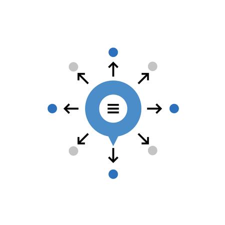 抽象的なウイルスのマーケティング チャネルとコンテンツのプロモーションのモダンなベクトルのアイコン。プレミアム品質のベクトル図の概念。