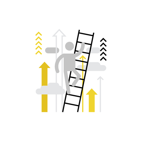 potential: Modern vector icon of career ladder of person and climbing process over it. Premium quality vector illustration concept. Flat line icon symbol. Flat design image isolated on white background. Illustration