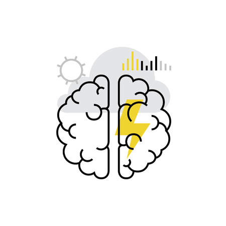 Modern vector icon of brainstorming, moment of creation, mind process, insight. Premium quality vector illustration concept. Flat line icon symbol. Flat design image isolated on white background. Vetores