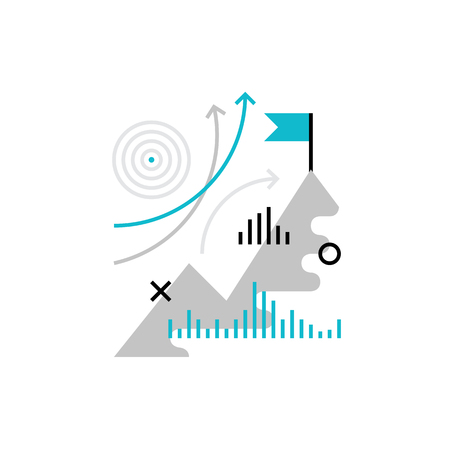 Modern vector icon of reaching business goals ?nd company mission progress. Premium quality vector illustration concept. Flat line icon symbol. Flat design image isolated on white background.