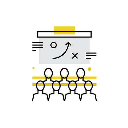 lecture hall: Modern vector icon of business people training, strategy presentation at auditorium. Premium quality vector illustration concept. Flat line icon symbol. Flat design image isolated on white background.