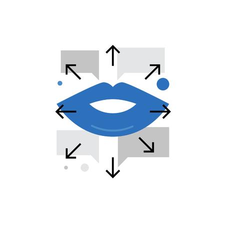 Moderno vettore icona del buzz marketing, viral promozione dei prodotti tra le persone. Premium qualità concetto illustrazione vettoriale. Flat Line simbolo icona. immagine design piatto isolato su sfondo bianco. Vettoriali