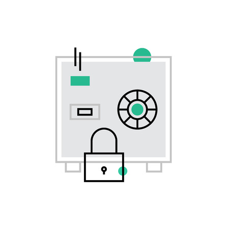 security symbol: Modern vector icon of secured safe box, cash protection and money keeping variety. Premium quality vector illustration concept. Flat line icon symbol. Flat design image isolated on white background. Illustration