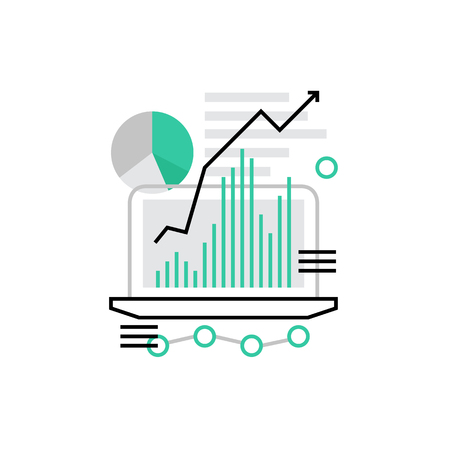 metrics: Modern vector icon of traffic growth showed in charts and graphs on a laptop screen. Premium quality vector illustration concept. Flat line icon symbol. Flat design image isolated on white background. Illustration