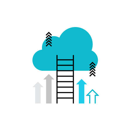 Modern vector icon of career ladder progress and corporative advancement process. Premium quality vector illustration concept. Flat line icon symbol. Flat design image isolated on white background. Illustration