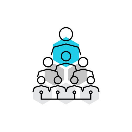 Moderne vector icoon van de structuur van de onderneming, corporate hiërarchie en werknemersorganisatie. Premium kwaliteit vector illustratie concept. Vlakke lijn pictogram symbool. beeld Vlakke ontwerp geïsoleerd witte achtergrond.