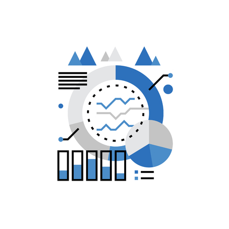 info: Modern vector icon of marketing campaign statistics showed as graphs and charts. Premium quality vector illustration concept. Flat line icon symbol. Flat design image isolated on white background.