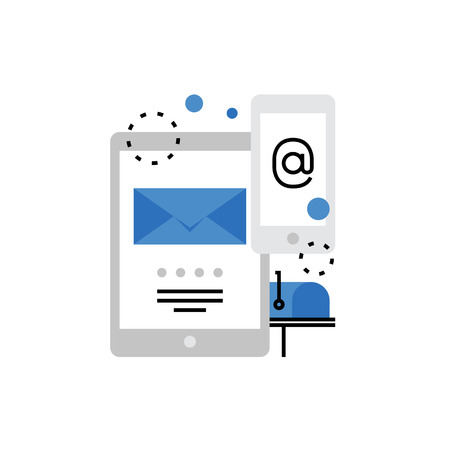 digital: Modern vector icon of email marketing campaign, mailbox, smartphone and tablet. Premium quality vector illustration concept. Flat line icon symbol. Flat design image isolated on white background.
